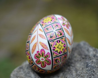 Pysanka by Katya Trischuk Toronto artist traditional Ukrainian Easter egg in happy bright colors great gift for baby girl first holidays