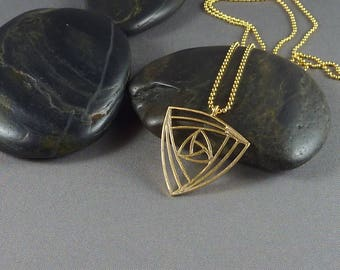 Arcadia. Long Gold Geometric Necklace. 16k yellow gold plated. modern. delicate. layering. minimal. triangle.
