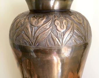 Vintage Tall Brass Vase, 16 inch Flower Vase, Floor Vase, Embossed Flowers, Art Deco Style, Free Shipping to USA