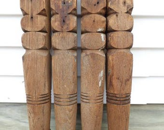 Four Vintage wood table legs carved decorative posts architectural salvage supplies 23 inch table leg