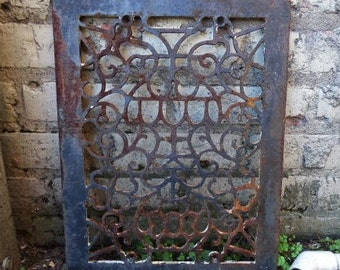 Antique Cast iron Grate Floor Wall Architectural salvage Nouveau floral Urn Victorian Gothic Decorative 12 x 16