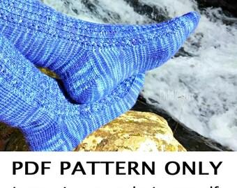 Knitting Pattern - Sock Knitting Pattern - Toe Up Socks Knitting Pattern - the BROOKE Socks (Women's small & large sizes)