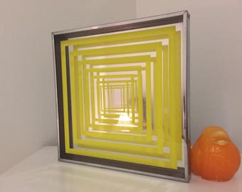"MID CENTURY MIRROR, Mod Op Art Mirror, 12"" Sq,  Geometric, Yellow, Chrome, Turner Attributed, Mcm, Mid Century Modern Mirror at Modern Logic"