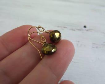 Mystic Spinel Earrings, Spinel Earrings, Bronze Copper and Gold Earrings, Spinel Gemstone Earrings, Gift For Her, Gift Women, Gifts Under 20
