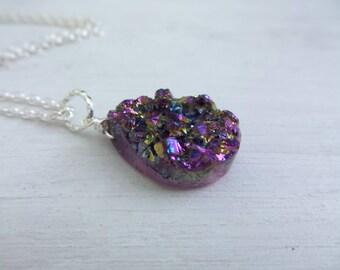 Titanium Druzy Necklace, Rainbow Druzy Necklace, Purple Druzy Stone, Rainbow Pendant, Teardrop Quartz Necklace, Gift For Her, Gifts Under 20