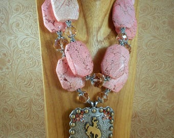 Cowgirl Necklace Set - Chunky Pink Howlite and Crystal - Wyoming Bucking Horse Concho Pendant