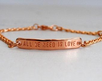 Rose Gold Love Bracelet, All We Need Is Love, Love Message, Quote Bracelet, Valentine, Friendship, Anniversary, Peace, Boho, Festival
