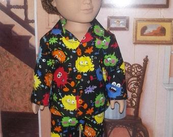 "Monsters 2 piece pajamas fits 18"" American Girl or boy doll Black long sleeve"