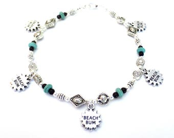 Silver Beach Anklet/Beach Bum Jewelry/Silver & Turquoise/10-Inch Anklet/Silver Charm Anklet/Turquoise Beading/Charm Dangles/Summer Anklet