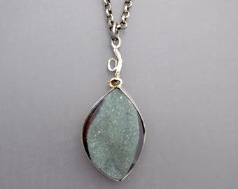 Long Green Drusy Necklace