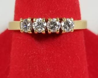 Vintage Gold Tone Round Cut Cubic Zirconia Solitaire Fashion Ring Size 10 4 In Line Stones