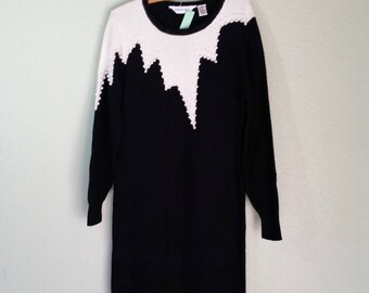 Vintage Sweater Dress, Black and White with Pearl Accents,  #62004