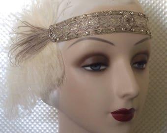 1920s headband flapper or edwardian headdress, 1920's headband, wedding headband cream and brown feathers art deco headpiece - made to order