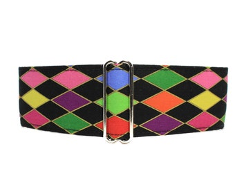 Martingale Dog Collar, Argyle Martingale Collar, Argyle Dog Collar, 2 Inch Martingale Collar, Mardis Gras Dog Collar
