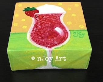 Strawberry Daiquiri Art, canvas happy hour mini painting, 4x4 acrylic