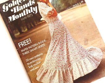 vintage 1970s magazine - GOLDEN HANDS MONTHLY sewing magazines 1973 May issue
