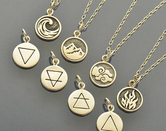 Elemental Charm Necklace Set - Earth, Air, Water and Fire