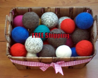 Felted, Wool Dryer Balls, 4 6 or 8 Ball Set Eco-friendly, Free Shipping USA