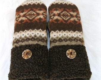 Fair Isle Brown & Orange Women's Up-cycled Felted Wool Sweater Mittens