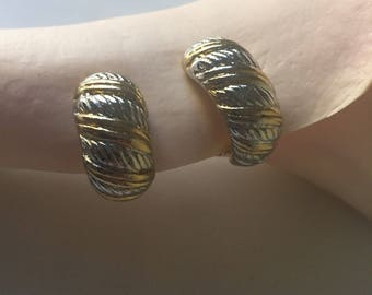 Two-Tone Clip-Ons | gold // silver hue clip on vintage 80s hoops earrings hoop shape oval womens present jewelry gift 90s
