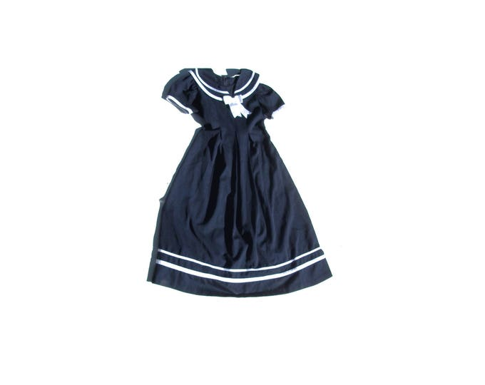 Cosplay  Maxi | womens navy blue peter pan SAILOR collar white stripes preppy madeline school girl medium M dress long kawaii lolita