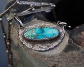 Reserved for A Turquoise Necklace, Raw, Rustic, Kingman, Pendant, Metalsmith Jewelry