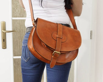 Leather saddle bag, Leather Bag, Leather Crossbody bag purse, Leather Messenger Bag, Leather women bag, Leather Woman bag, Goldmann L brown!