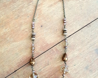 Brown Copper Necklace Earrings Set Chunky Jewelry Boho Bohemian Style