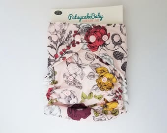 diaper cover, cloth diaper cover, one size, organic cotton, pink, flower, garden, nature, blackberries , AI2 Optional, All-in-Two optional