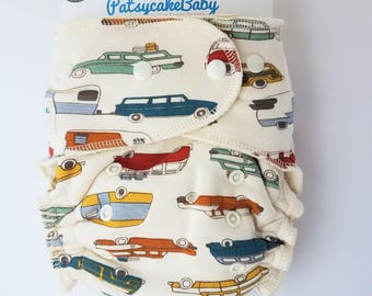 Fitted diaper, organic knit, fitted, cloth diaper, cars, trucks, vintage, road trip, vacation, river rally