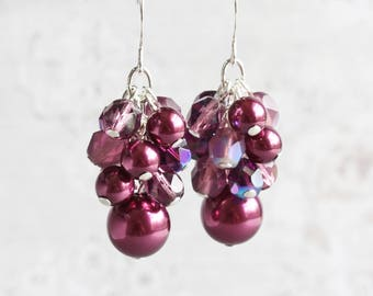 Plum Purple Beaded Cluster Dangle Earrings on Silver Plated Hooks