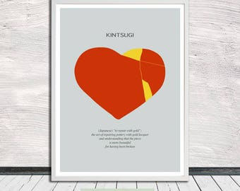 Kintsugi heart (on light grey), Kintsukuroi, Japanese aesthetics, Poster, Heart, Words, Printable Art, Instant Digital Download