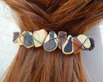 Real Sea Glass Ocean Pottery Barrettes Found Beach Treasure Hair Clip Mermaid Accessories Gifts under 30 For Her Beach Crockery