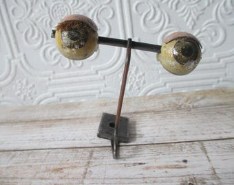 Distressed ANTIQUE DOLL EYES Hazel Standing Weighted Metal for Collecting or Altered Art, Doll Repair Restoration Projects