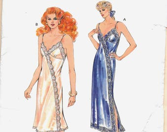 Kwik Sew 1635 Misses Vintage Lingerie Nightgown and Asymmetrical Slip Pattern   Size xs small med large Uncut