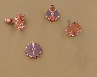 50 Blank Post Earrings 10mm/ 12mm Round Bezel Brass Rose Gold Plated Ear Studs W/ Matching Brass Bullet Ear Nuts Earring Backs- Z8465