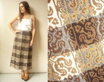 1970's Vintage Welsh Wool Tweed Plaid Midi Length Pencil Wiggle Skirt Size Medium