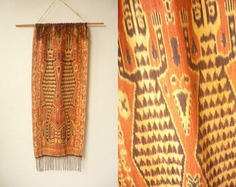 Vintage Wall Hanging Table Runner Antique Cotton Ikat Textile Fabric Art 17 Inches x 41 Inches