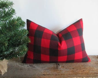Lumbar Pillow Cover Buffalo Plaid Black and Red Both Sides Zipper Opening New F/W 2017
