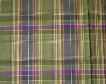 1/2 YARD, Green Purple Yarn Dyed Plaid, Quilting Cotton or Shirting Fabric, Medium Weight, B12
