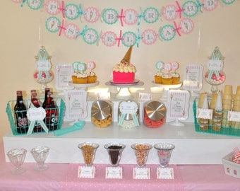 Ice Cream Birthday Banner, 1st Birthday, Sweet Shoppe, Vintage Ice Cream Parlour, Ice Cream Cone Party Decorations, Ice Cream Social, Sundae