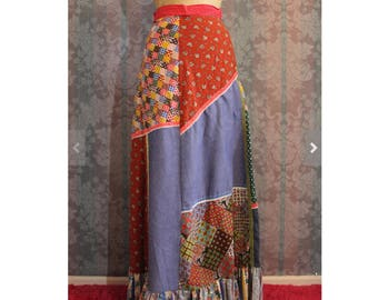 Sz  Petite Tall Patchwork Maxi Multi Colored Beach Prairie Skirt