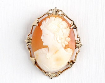 Sale - Vintage Rosy Yellow Gold Filled Carved Shell Cameo Brooch - Mid-Century 1940s Pin Woman Silhouette Jewelry in Original Box
