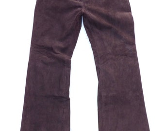 Vintage Brown 100% Real Leather - Suede CLAIRE DK Bootcut Ladies Women's Jeans Trousers Pants W 31 L 32 Festival