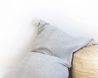 Giant Cotton Floor Cushion - Grey Stripes