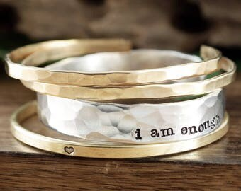 I am Enough Bracelet, Inspirational Cuff Bracelet Set, Stacking Bracelet Set, Gift for Her, Personalized Gift, Gift For Her, Christmas gift