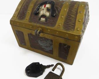Pirate's Chest Bank, Lock & Key, Metal, Swashbuckler, Skull Crossbones, Vintage E. J. Kahn