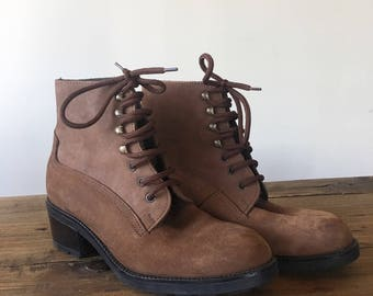 Vintage Brown Suede Lace Up Boots, Ankle Boots, Roper Boots, Women's Boots, Made in Italy, Size 6