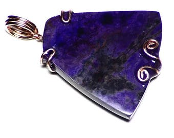 Purple Sugilite Necklace in Rose Gold (18.2 ct) Pink Sugilite Freeform Cabochon, Rose Gold Anniversary Gift, Sugilite Pendant, Blue Sugilite