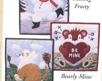 CALENDAR CRITTERS VOLUME 1 - Skating Frosty, Bearly Mine, and Huff & Puff Quilt Pattern - Uncut - Q052